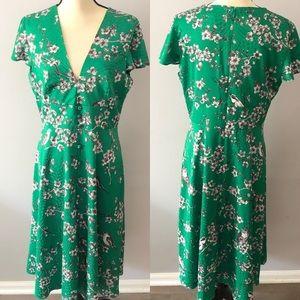 Anthropologie Hutch Cherry Blossom Silk Midi Dress